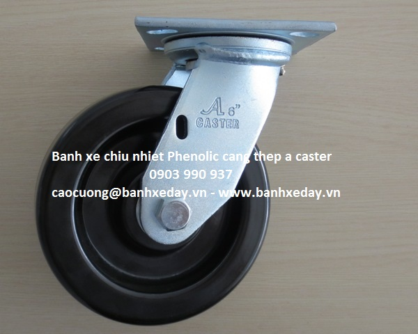 Bánh xe chịu nhiệt phenolic càng thép a caster, banh xe chịu nhiệt độ cao