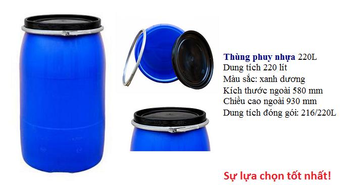 Thùng phuy nhựa, phuy nhựa 220l, thùng phuy nhựa đựng hóa chất giá sỉ