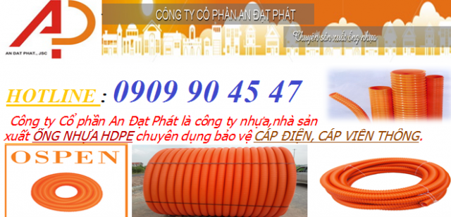 Ống nhựa gân xoắn HDPE Ø 65/50 – ống nhựa xoắn luồn cáp điện HDPE