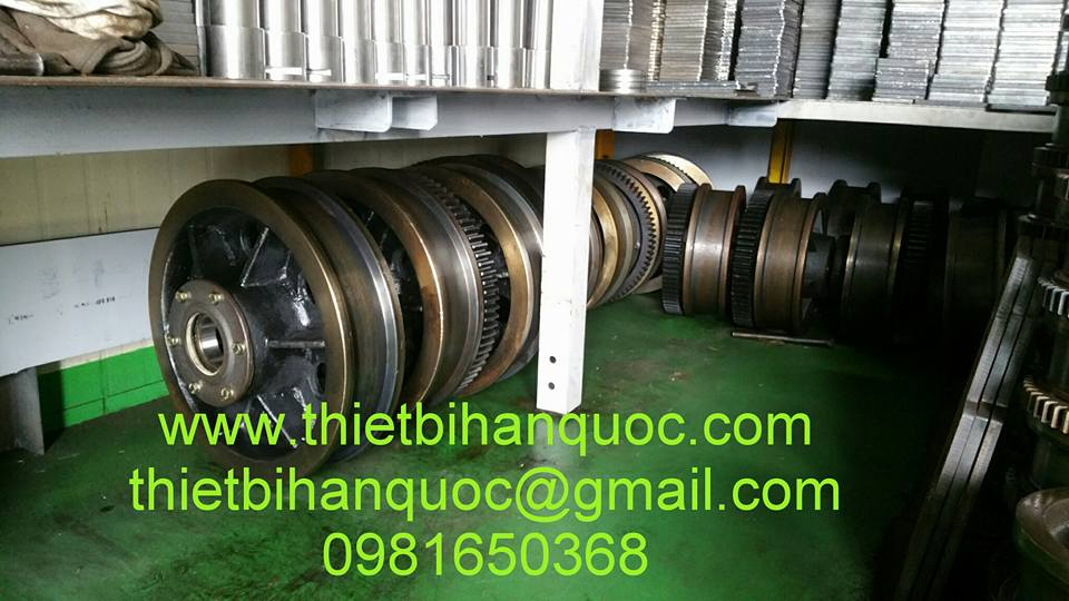 Bánh xe cầu trục Hàn Quốc nhập khẩu D160, D200,D250, D300, D315,D400,D450,D500,D630
