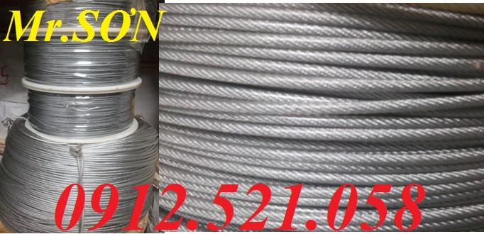 Cáp inox bọc nhựa  6 ly bán Hà Nội (0968.521.058) = Cáp thép bọc nhựa D2 – D16,cáp inox trần D1 – D20,tăng đơ ống inox căng cáp cầu thang,ốc xiết cáp inox,ròng rọc inox,mã ní inox …nhập khẩu,tốt nhất. Bán Puly chuyển hướng,móc cẩu,Cáp thép cẩu hàng,cáp th
