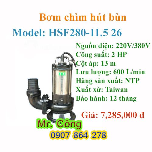 Bơm chìm hút bùn NTP HSF280-11.5 26 2 HP