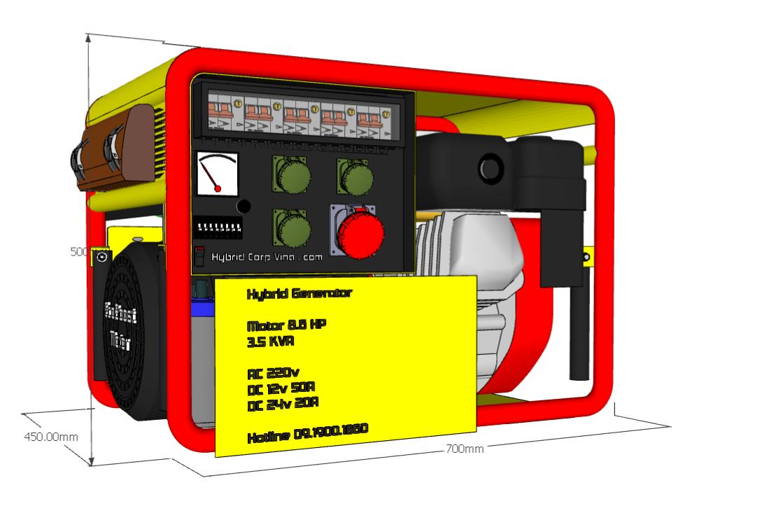 Máy phát điện động cơ HYBRID Generator , tiết kiệm 50% nhiên liệu
