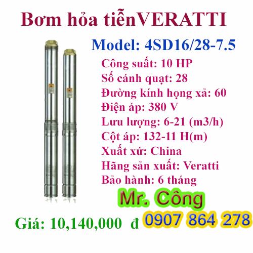 Máy bơm nước giếng khoan gia đình 4 inch VERATTI 4SD16/28-7.5 10HP