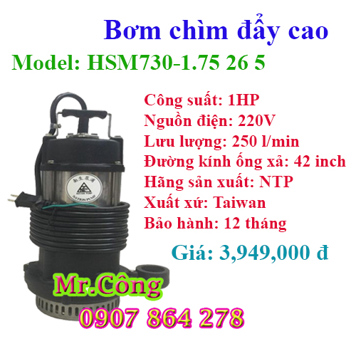 Máy bơm chìm đẩy cao NTP HSM730-1.75 26 5 1HP