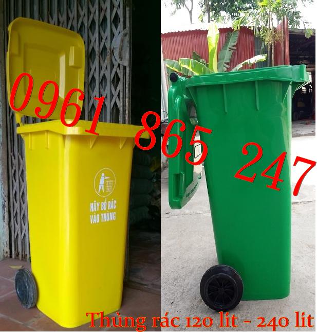 Thùng rác công cộng, thùng rác 120 lít, thùng rác 240 lít, xe gom đẩy rác giảm giá khủng