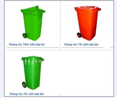 Thùng rác nhựa HDPE loại 120 lít và 240 lít tại TP.HCM