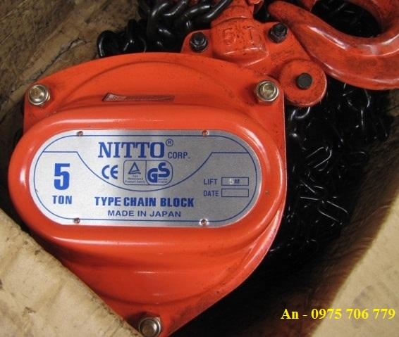 Pa lăng xích kéo tay Nitto Nhật Bản 3 tấn 3m nhập khẩu giá rẻ