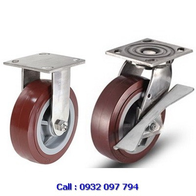 Bánh xe đẩy inox 304, bánh xe càng inox PU tải nặng Colson USA