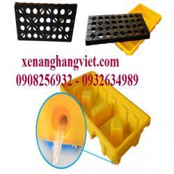 Pallet nhựa chống tràn dầu hóa chất chứa 2 thùng phuy 1310x680x300mm